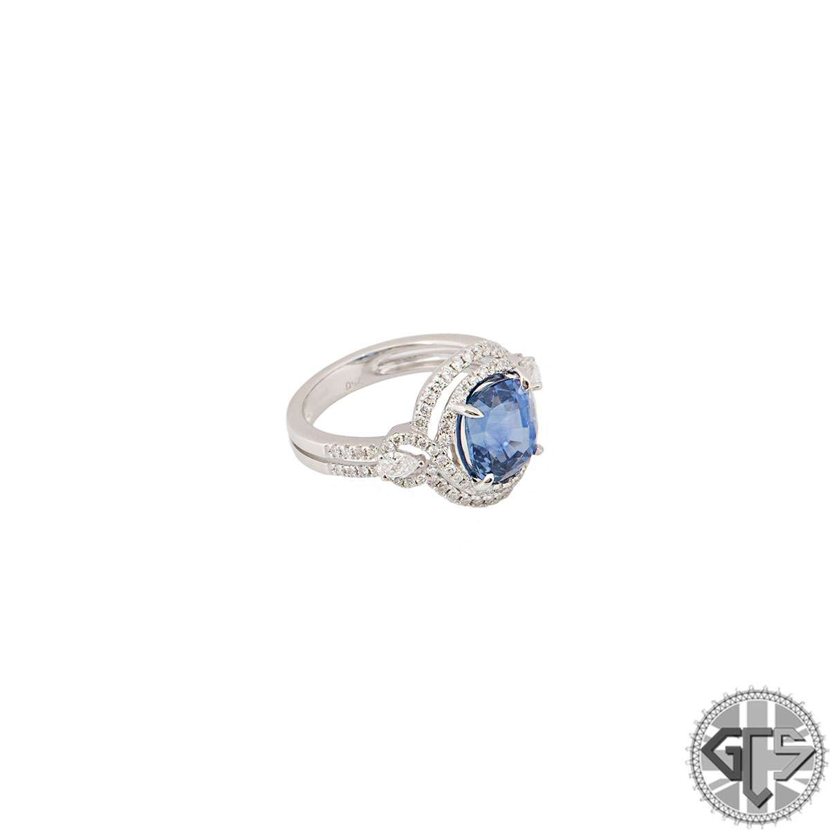White Gold Diamond And Sapphire Cushion Cut Ring 3.74ct